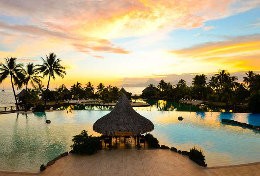 Sunset view from the hotel Intercontinental Tahiti