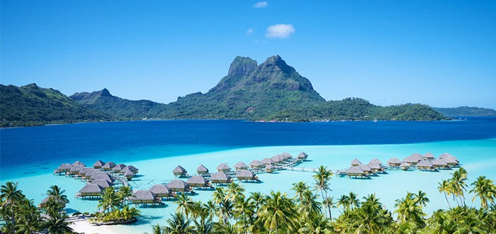 Amazing shades of blue on Bora Bora lagoon