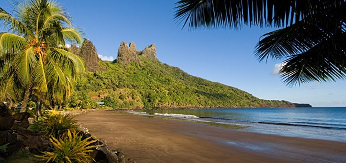 Hatiheu Bay, a black sand beach in the Marquesas