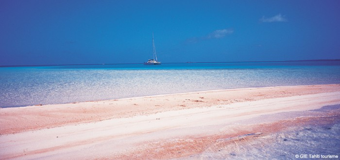 Pink sand beach on Rangiroa