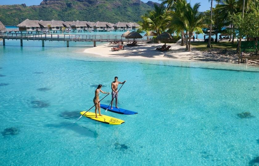 Paddleboarding on Bora Bora lagoon